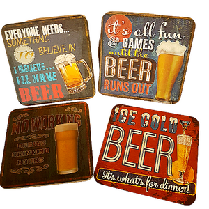 Set Of Four Beer Coasters