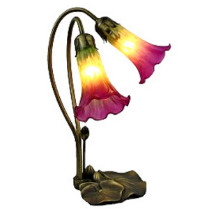 Tiffany Style Pink and Green Lily Lamp