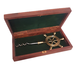 Brass Cork Screw In Wooden Box