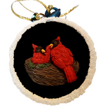 Christmas Cardinals Glass Hanging Ornament