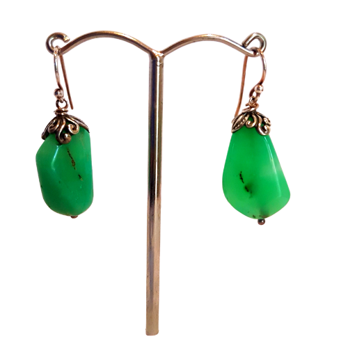 Chrysoprase and Sterling Sliver Earrings