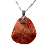 Burnt Orange Needle Agate Gemstone Necklace