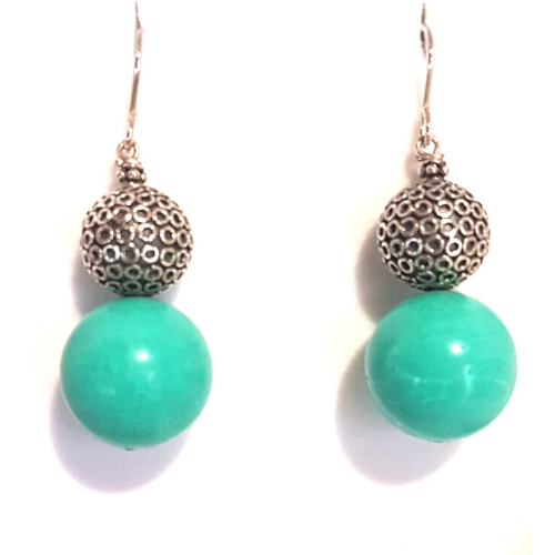 Turquoise Dancing, Turquoise and Sterling Sliver Earrings