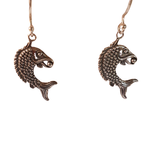 Sterling Silver fish and Pearl Earrings