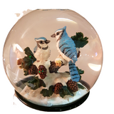 Blue Cardinals Christmas Musical Rotating Snow Globe