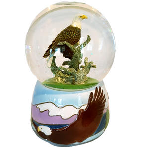 Bald Eagle Musical Rotating Glitter Globe