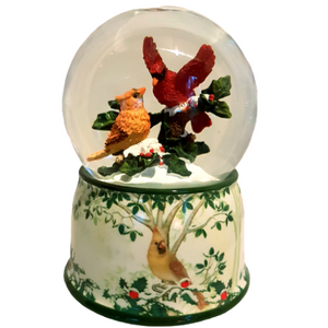 Christmas Cardinals Musical Rotating Snow Globe