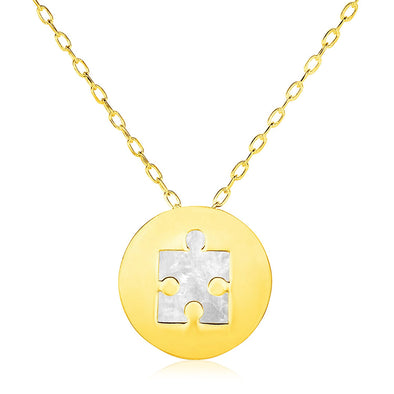 14k Yellow Gold Necklace with Puzzle Piece Symbol in Mother of Pearl