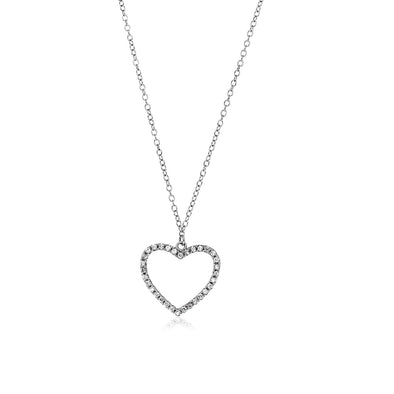 Sterling Silver Heart Necklace with Cubic Zirconias
