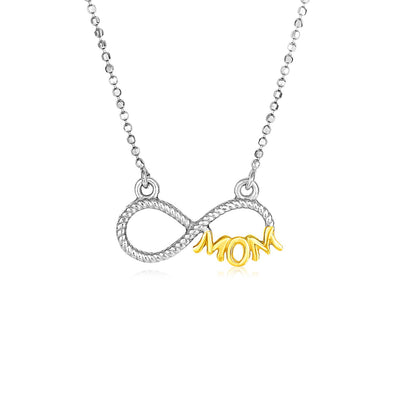 Sterling Silver Two Toned Mom Necklace with Cubic Zirconias