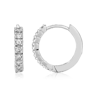 Sterling Silver Hoop Earrings with Cubic Zirconias