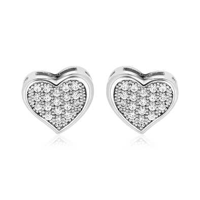 Sterling Silver Heart Earrings with Cubic Zirconias