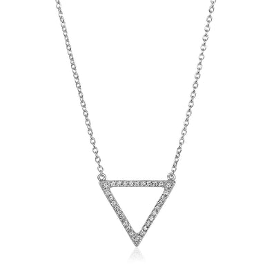 Sterling Silver Triangle Necklace with Cubic Zirconias