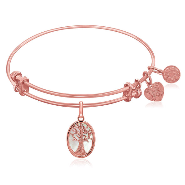 Expandable Pink Tone Brass Bangle with Tree of Life and Mother of Pearl