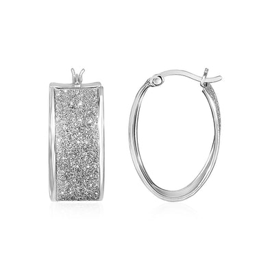 Glitter Textured Wide Oval Hoop Earrings in Sterling Silver