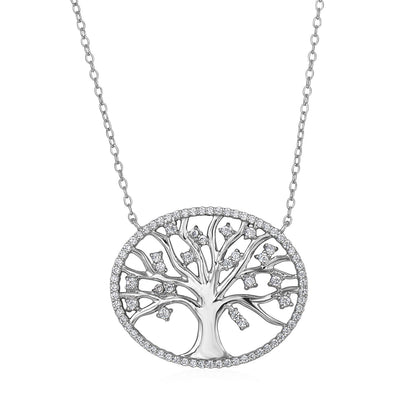 Tree of Life Necklace with Cubic Zirconia in Sterling Silver