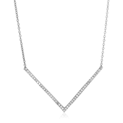 Sterling Silver V Necklace with Cubic Zirconias