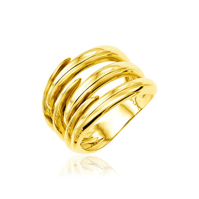 14k Yellow Gold Polished Interlaced Motif Ring