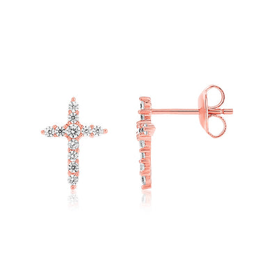 Sterling Silver Rose Finish Cross Earrings with Cubic Zirconias