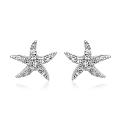 Sterling Silver Starfish Earrings with Cubic Zirconias