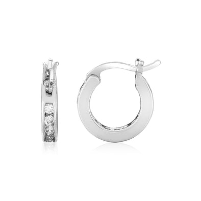 Sterling Silver Small Hoop Earrings with Cubic Zirconias