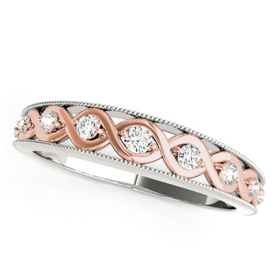 14k White And Rose Gold Infity Diamond Wedding Band (1/8 cttw)