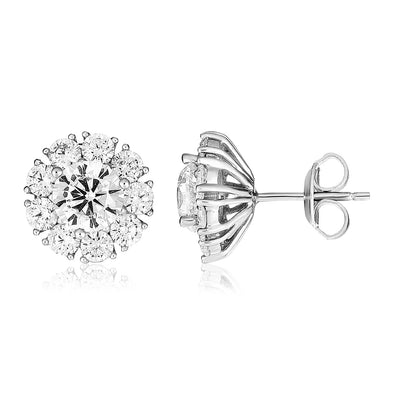 Sterling Silver Halo Setting Cubic Zirconia Earrings
