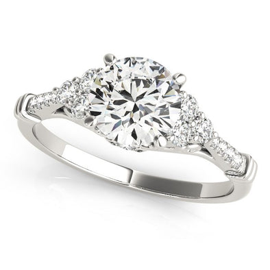 14k White Gold Side Clusters Round Diamond Engagement Ring (1 1/8 cttw)