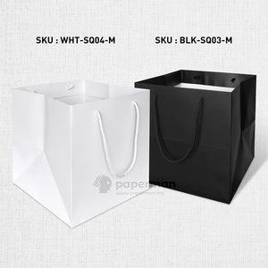 SQ04 Square White Kraft Paper Bag (Rope) Size M