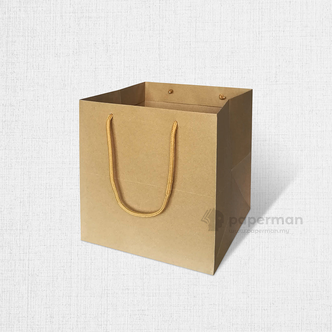 SQ01 Square Brown Kraft Paper Bag (Rope) Size M