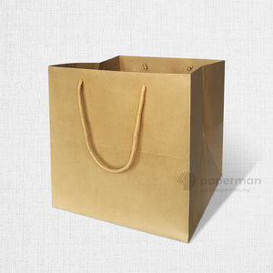 SQ02 Square Brown Kraft Paper Bag (Rope) Size M