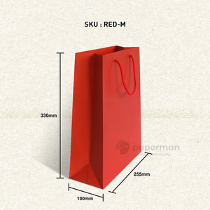 Plain Red Paper Bag (M)