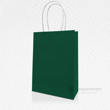 Load image into Gallery viewer, Dark Green Kraft Paper Bag