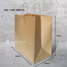 Load image into Gallery viewer, TH01 Brown Kraft Paper Bag (Twisted) Size XL