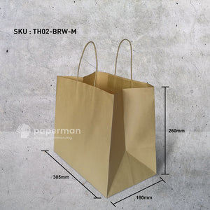 TH02 Brown Kraft Paper Bag (Twisted) Size M