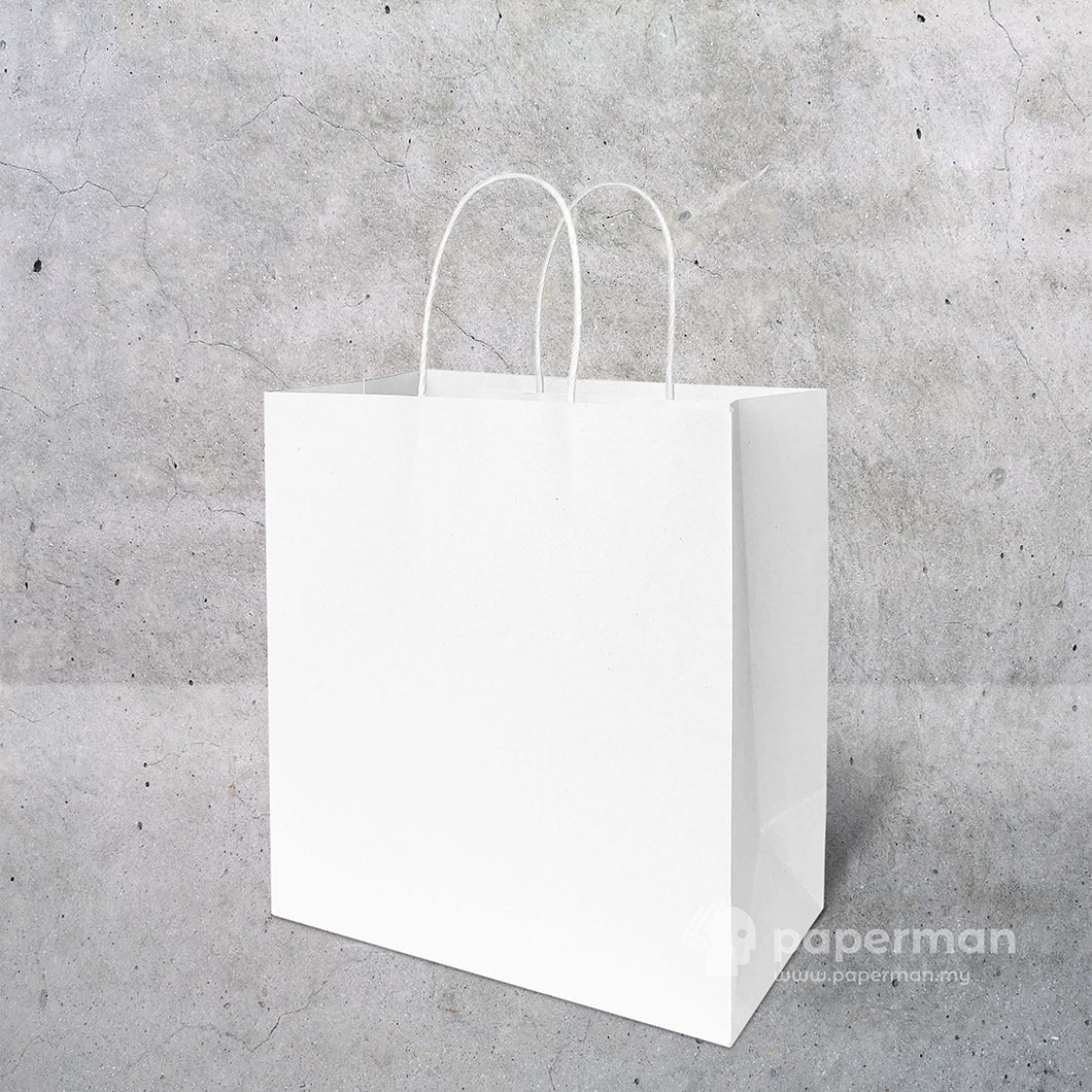 TH03 White Kraft Paper Bag (Twisted) Size M