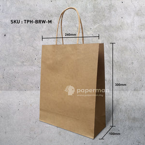Brown Kraft Paper Bag (Twisted) Size M