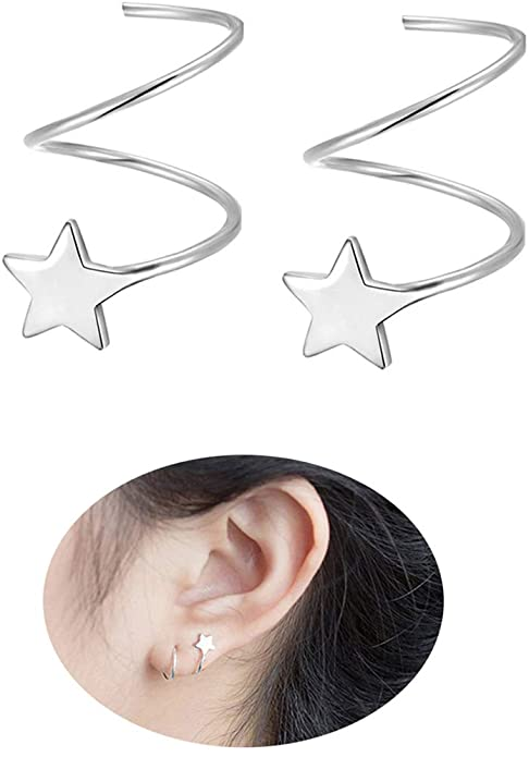 925 Sterling Silver Star Earrings for Women Teen Girls Fashion Star Wrap Earrings