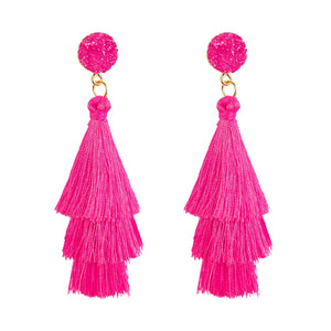 Colorful Layered Fashion Tassel Earrings Bohemian 3 Tier Fringe Statement Big Dangle Drop Earrings for Women Teen Girls Party Vacation Birthday Everyday Jewelry Gift Druzy Stud Post
