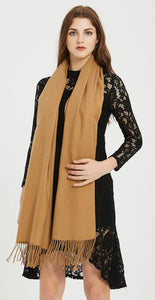 Soft Elegant Solid Color Virgin Wool Cashmere Scarf Shawl Warp