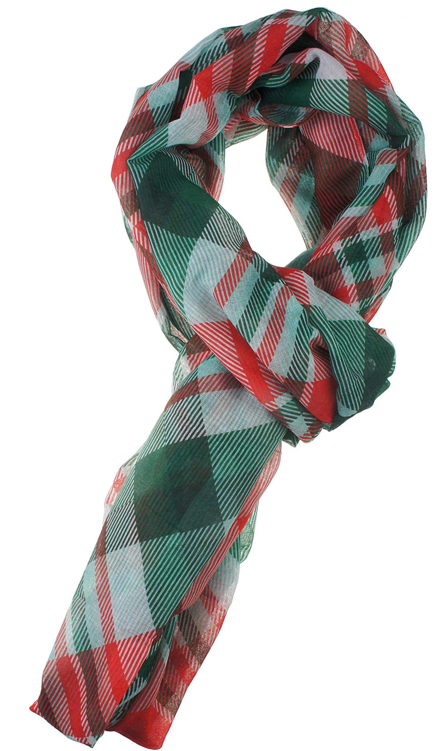 Soft Light Weight Christmas Holiday Plaid Tartan Sheer Infinity Scarf