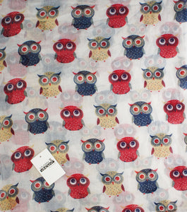 Soft Light Weight Cartoon Owl Sheer Scarf Shawl Wrap