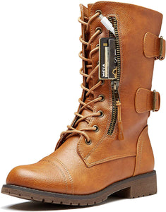 Women's Ankle Bootie High Lace up  Money Wallet Pocket Boots