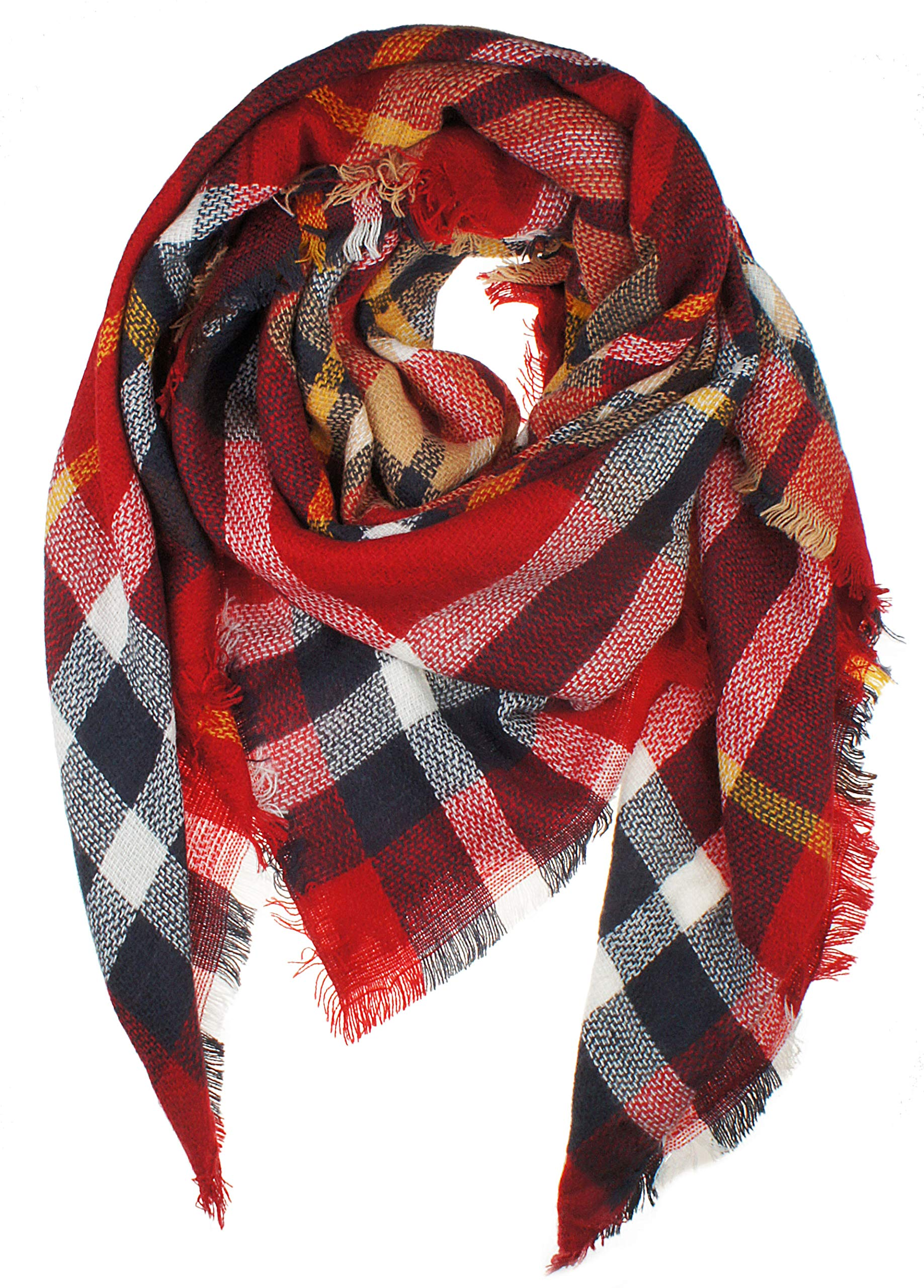 Women's Plaid Blanket Winter Scarf Warm Wrap Oversized Shawl Cape