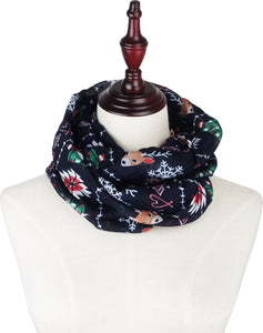 Soft Light Elegant Merry Christmas Sheer Infinity Scarf