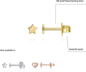 14K Gold Plated 925 Sterling Silver Dainty Mini Bar, Heart and Star Stud Earrings