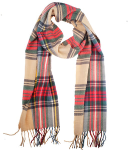 Soft Light Weight Plaid Cashmere Scarf