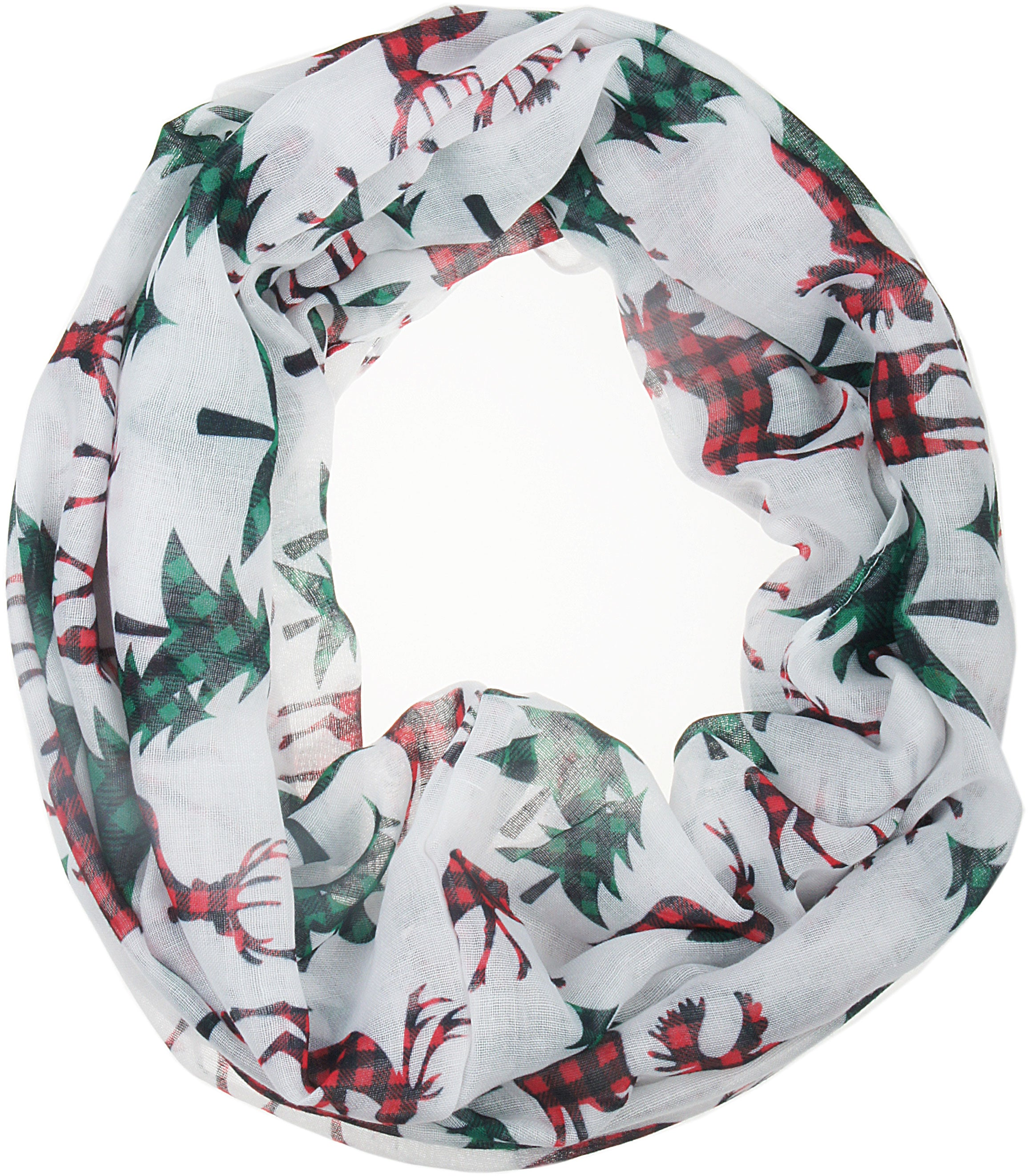 Soft Lightweight Christmas Holiday Sheer Infinity Scarf for Women Girls