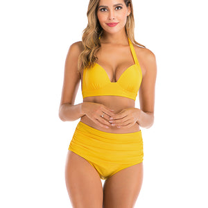 Womens High Waisted Bikini Set High Rise Two Piece Push Up Halter Swimsuits Bathing Suits