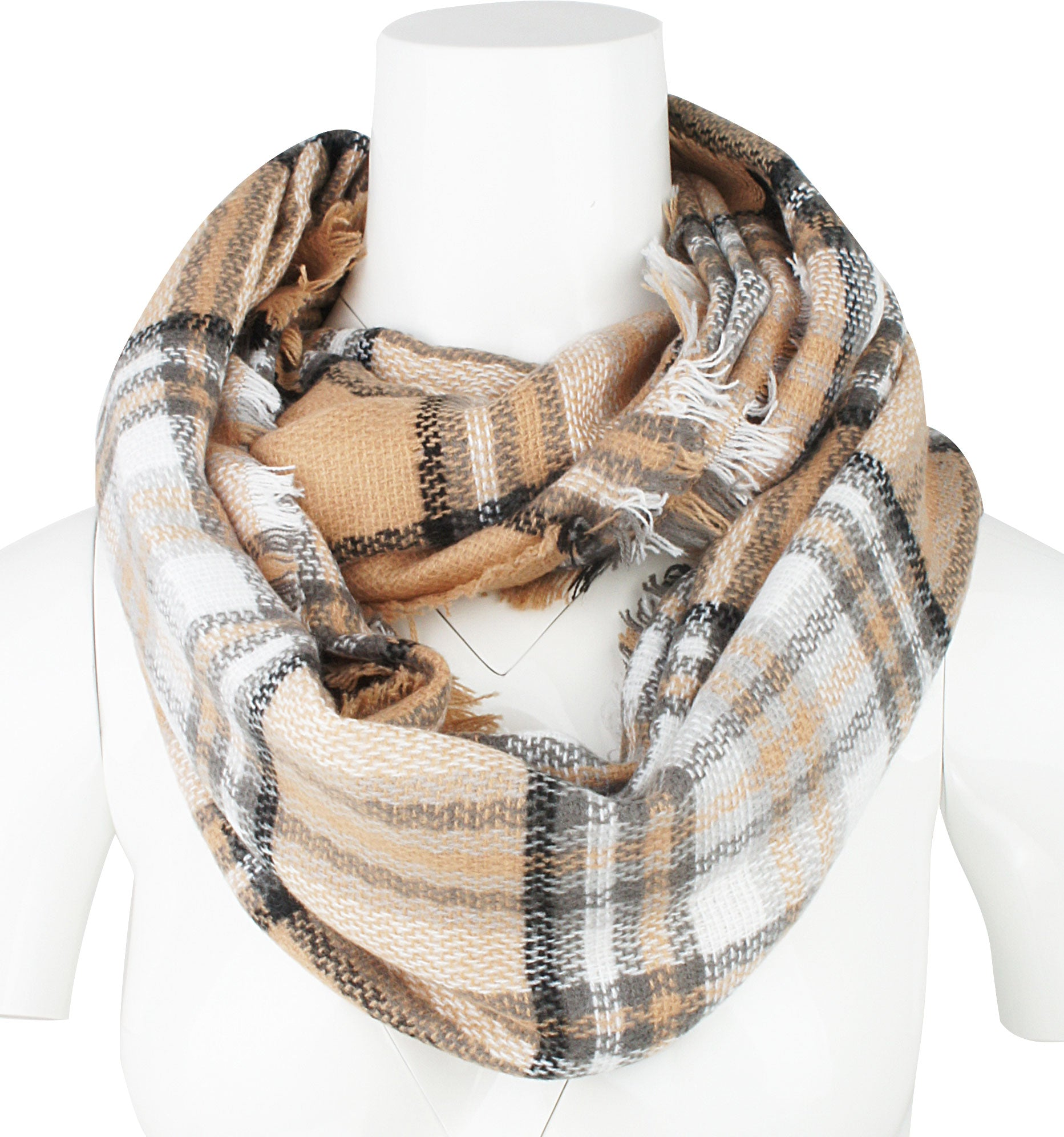 Womens Light Weight Plaid Tartan Winter Infinity Circle Loop Scarf